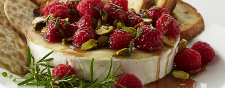 Warm Brie with Honeyed Raspberries and Pistachios