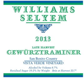 2013 Williams Selyem Vista Verde Vineyard Late Harvest Gewurztraminer